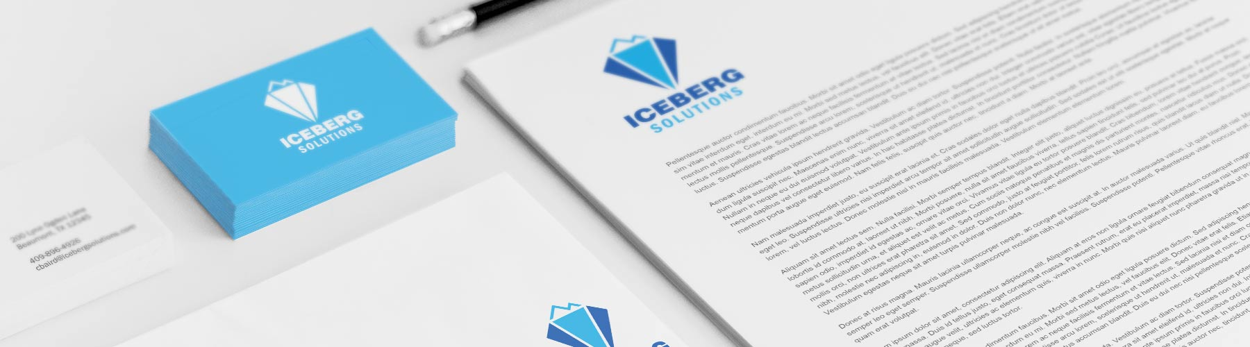 Branding example with business cards and letterhead