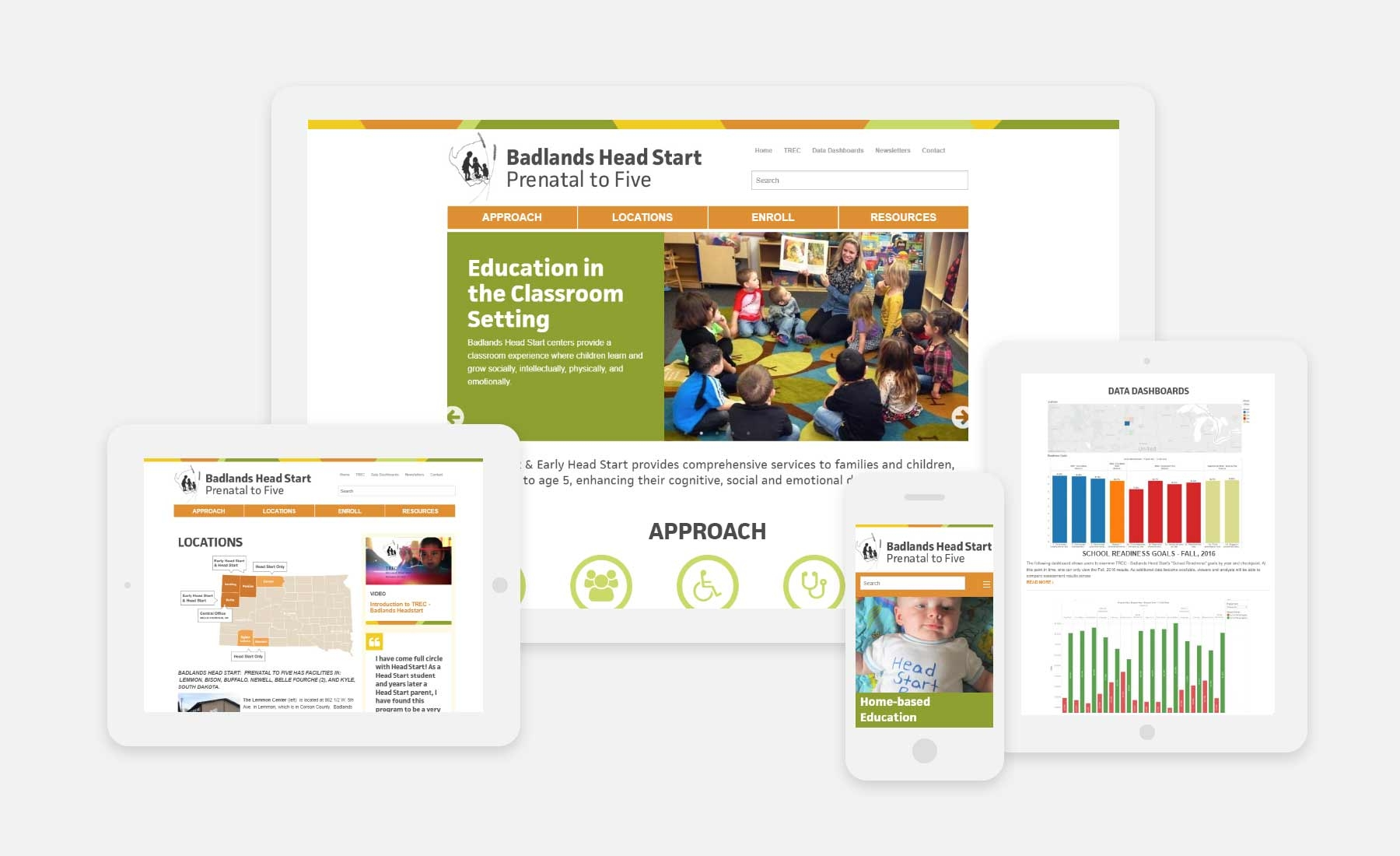Badlands Head Start responsive website shown on several devices