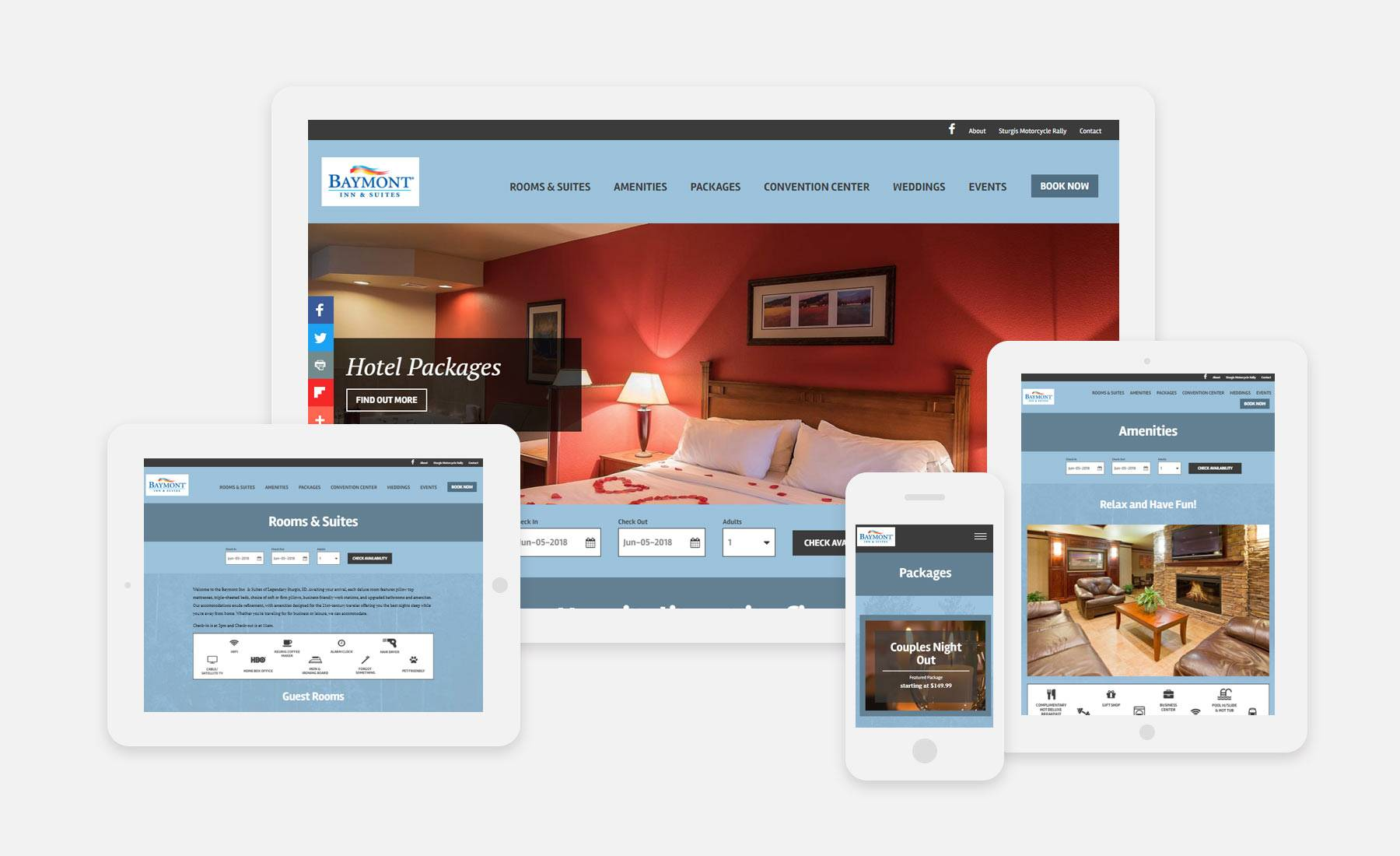 Baymont Inn & Suites by Wyndham Sturgis responsive website shown on several devices