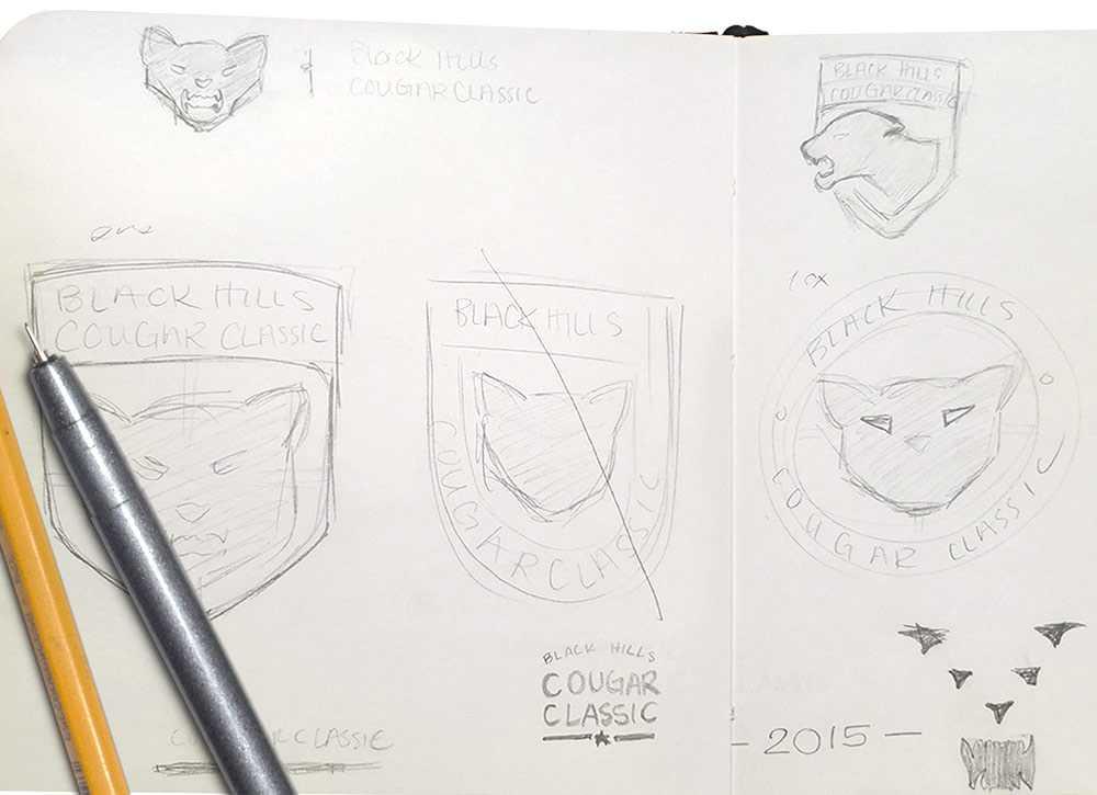 Black Hills Cougar Classic logo sketches