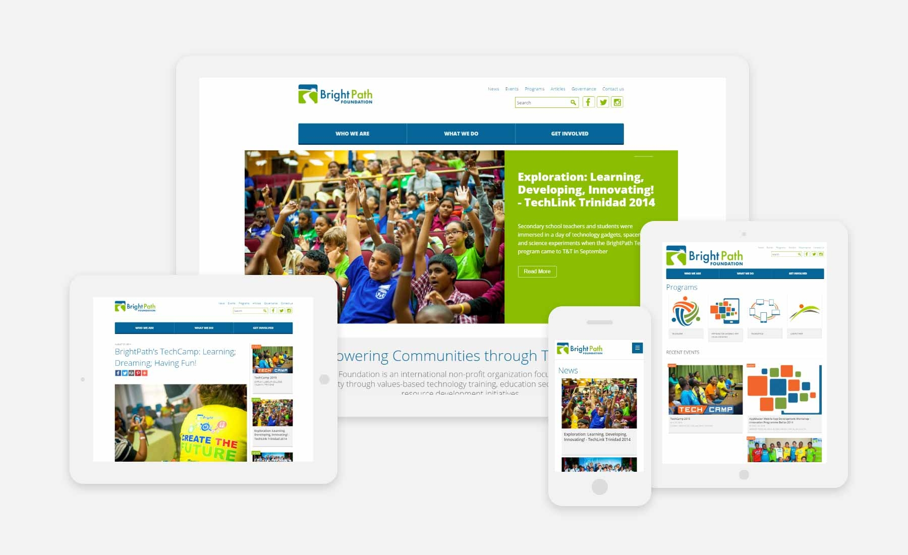 BrightPath Foundation responsive website shown on several devices