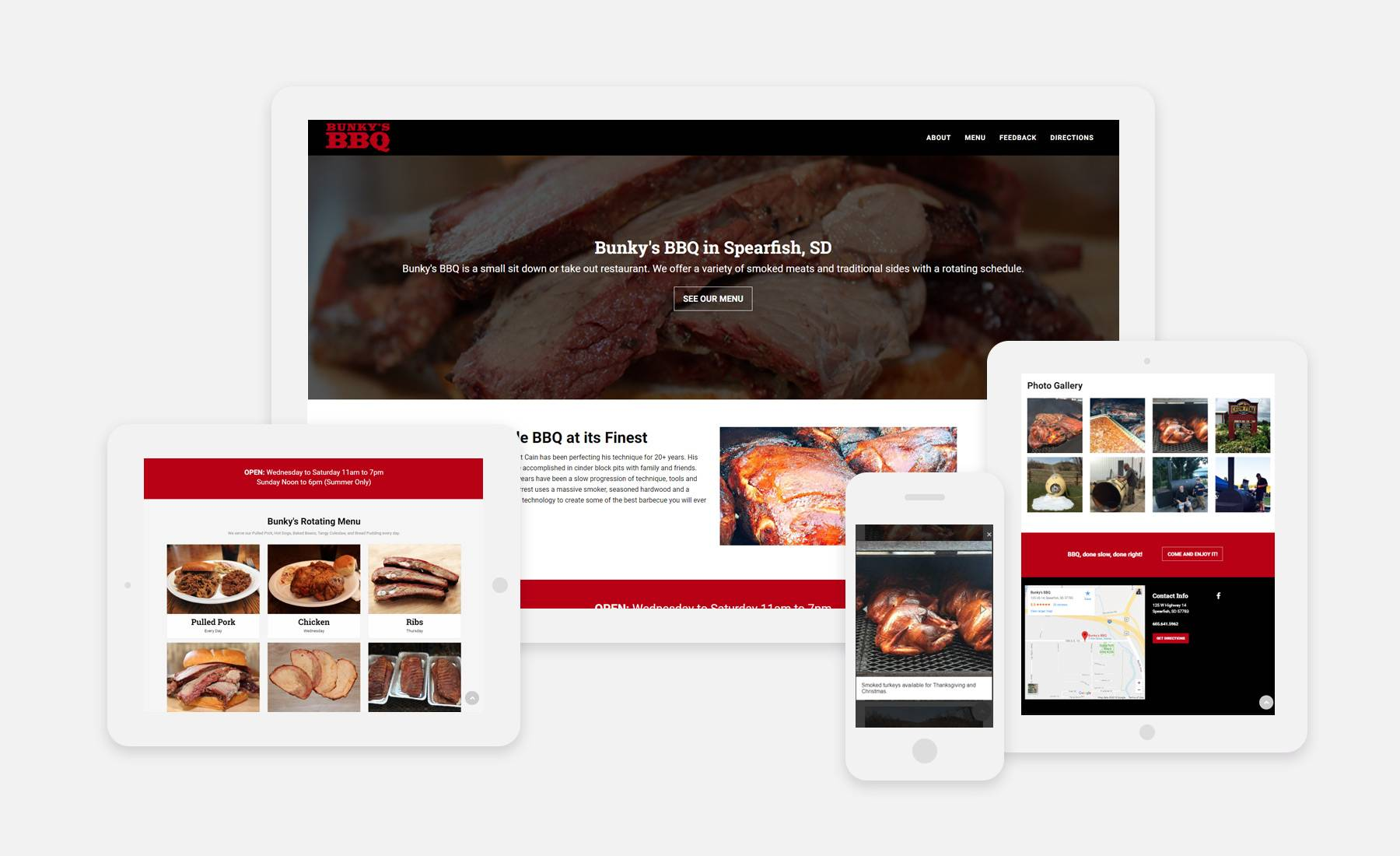 Bunky's BBQ website on 4 devices: desktop, ipad vertical, ipad landscape, and mobile