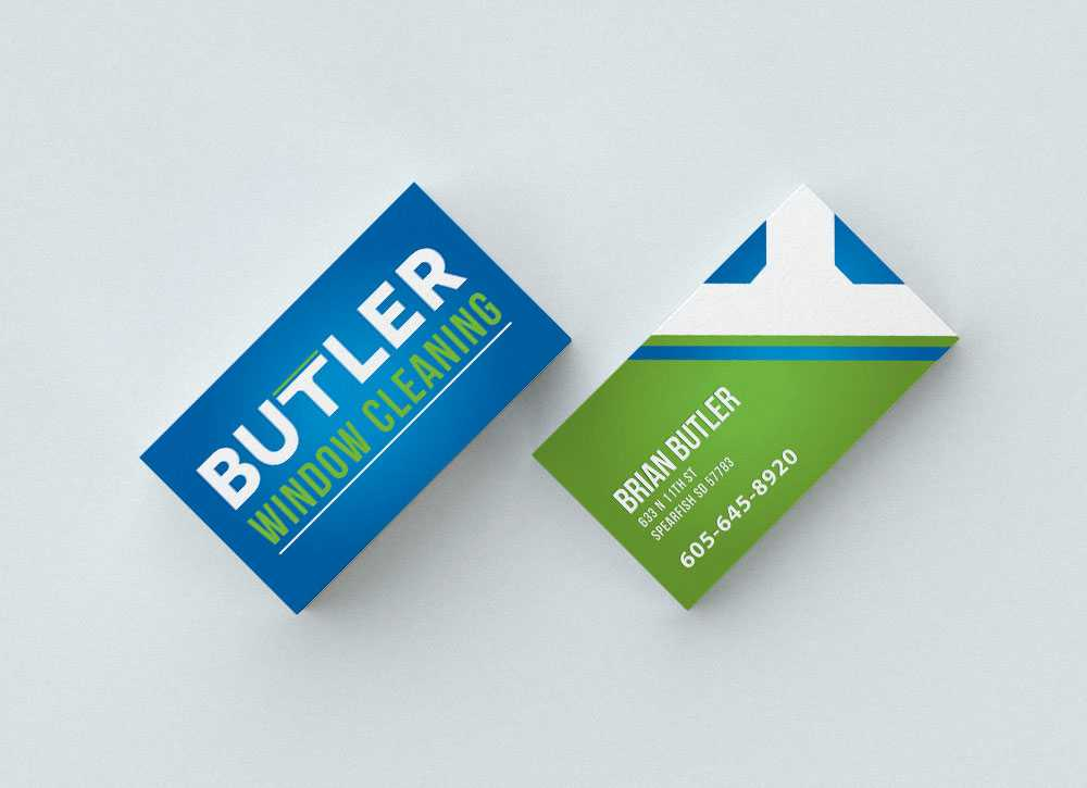 Butler Window Cleaning logo shown on business cards