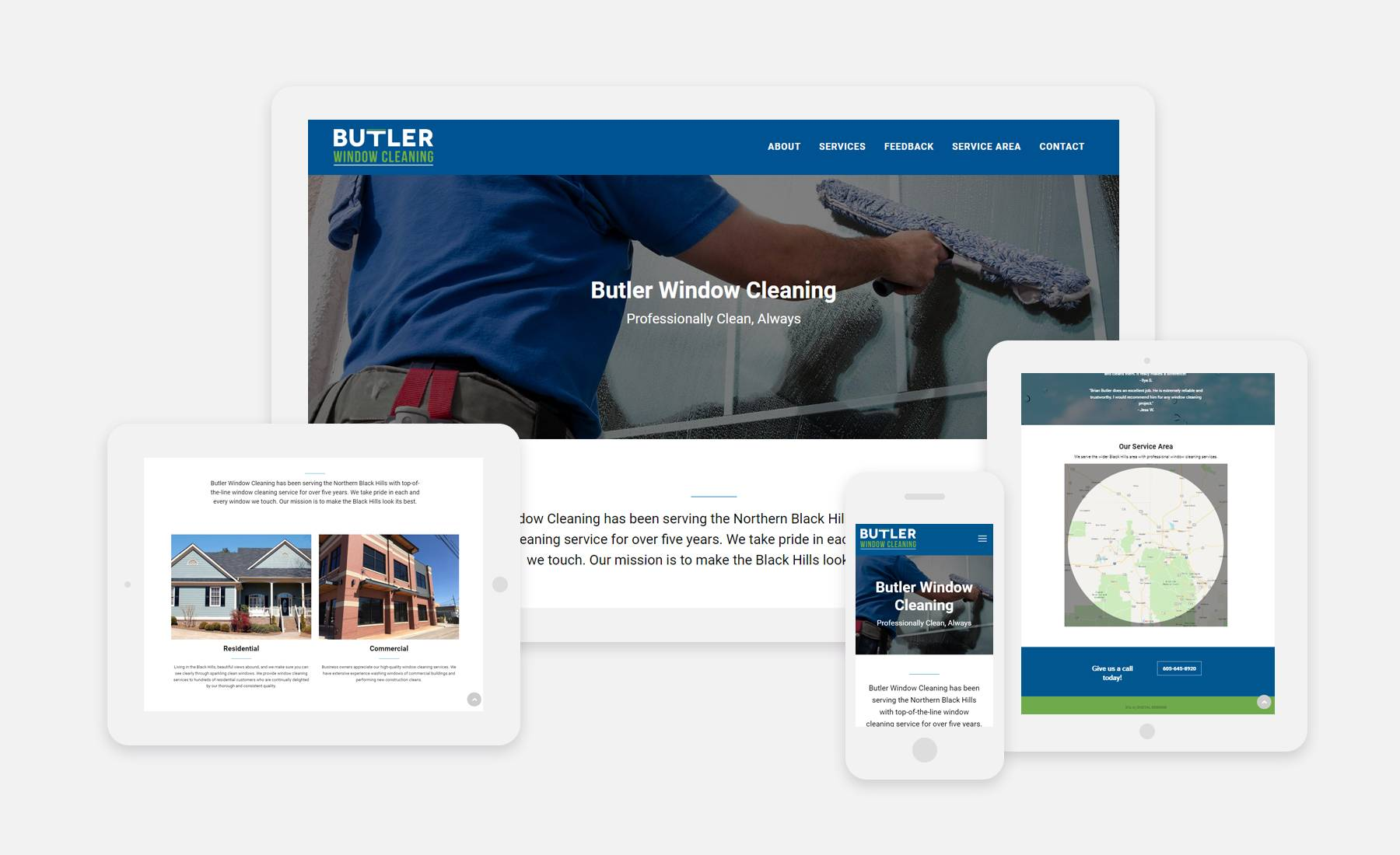Butler Window Cleaning website shown on 4 devices: desktop, laptop, tablet and phone
