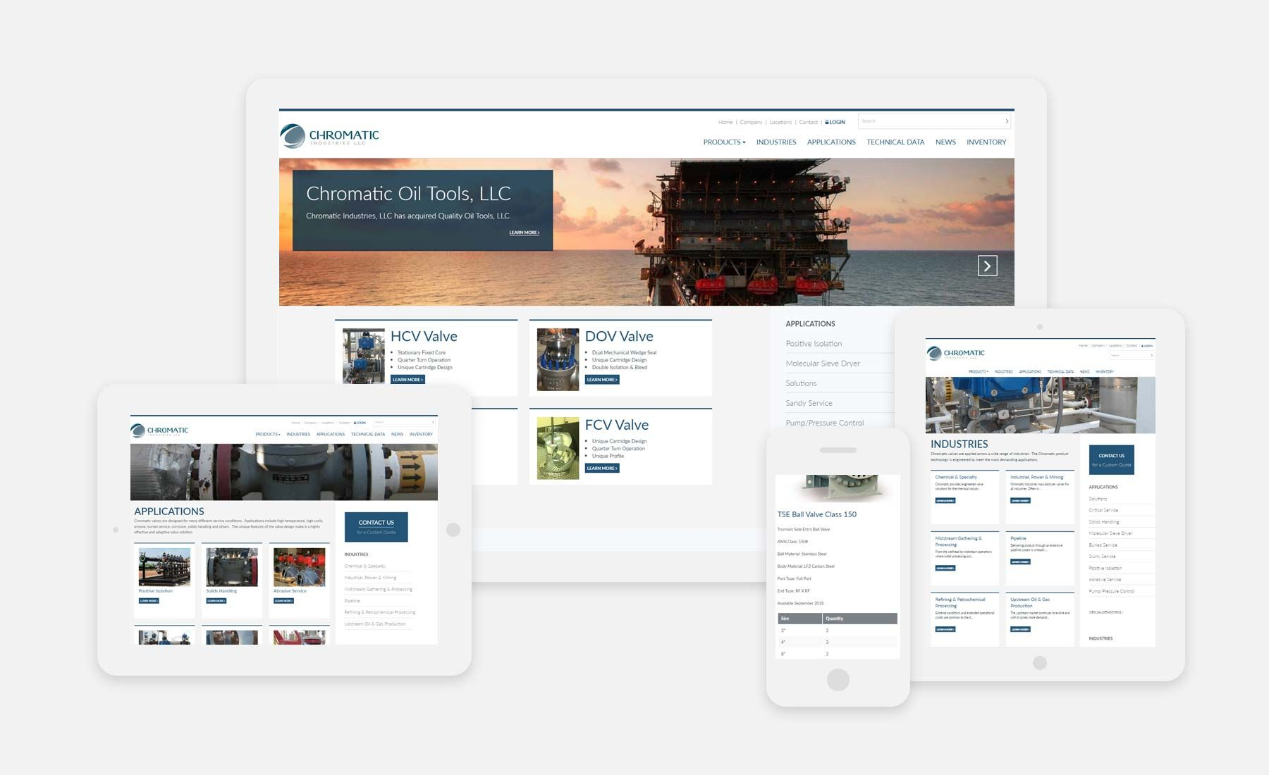Chromatic Industries' website on a phone, tablet, laptop and desktop