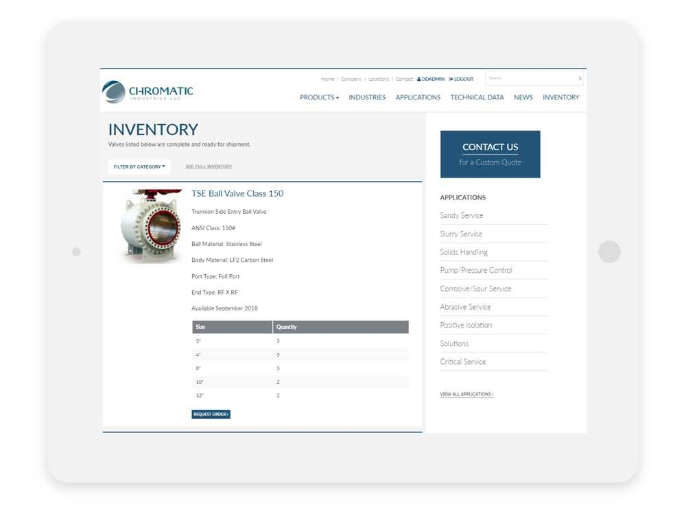 Chromatic Industries Inc. Inventory Page on a tablet