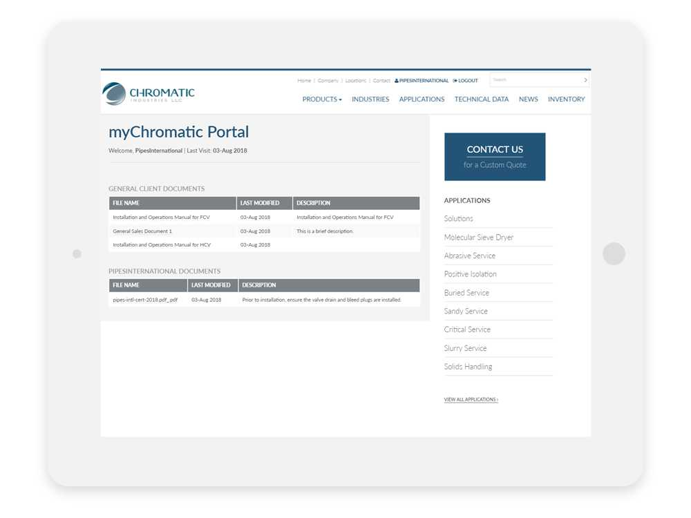 Chromatic Industries Inc. Member Portal on a tablet