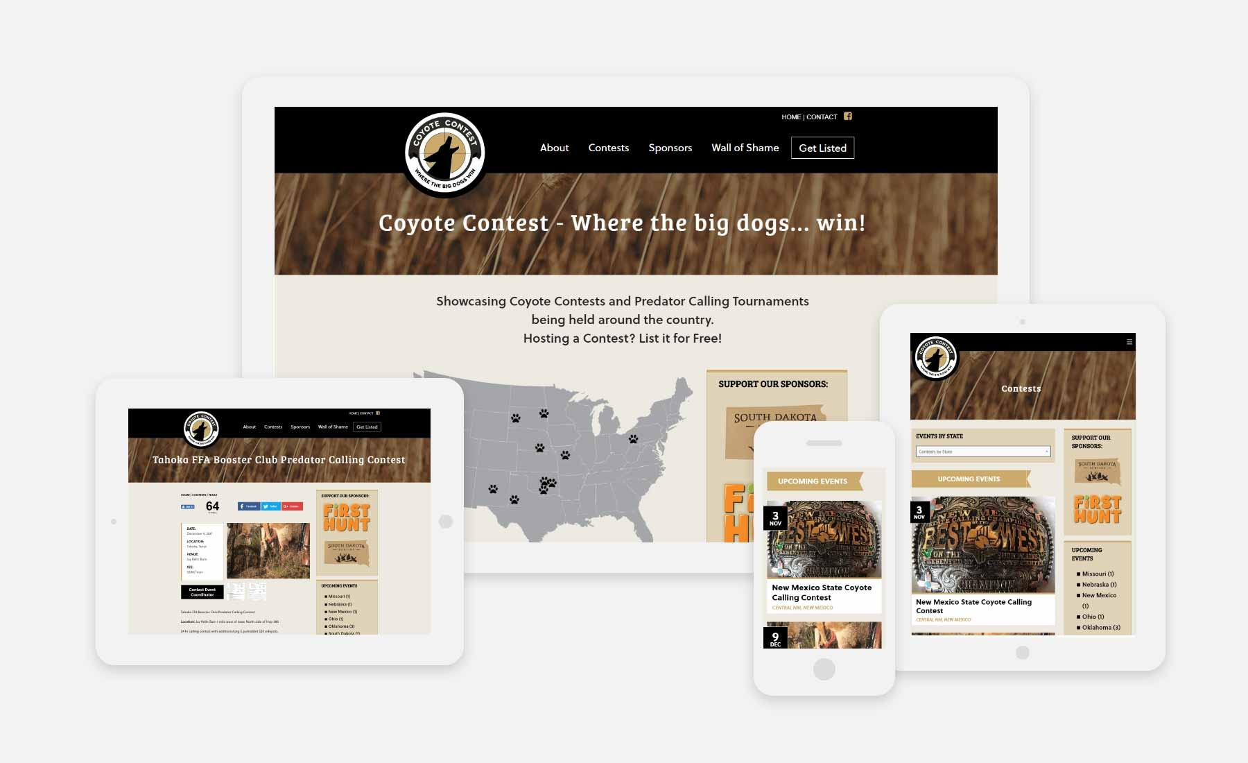 Coyote Contest responsive website on desktop, tablet and phone