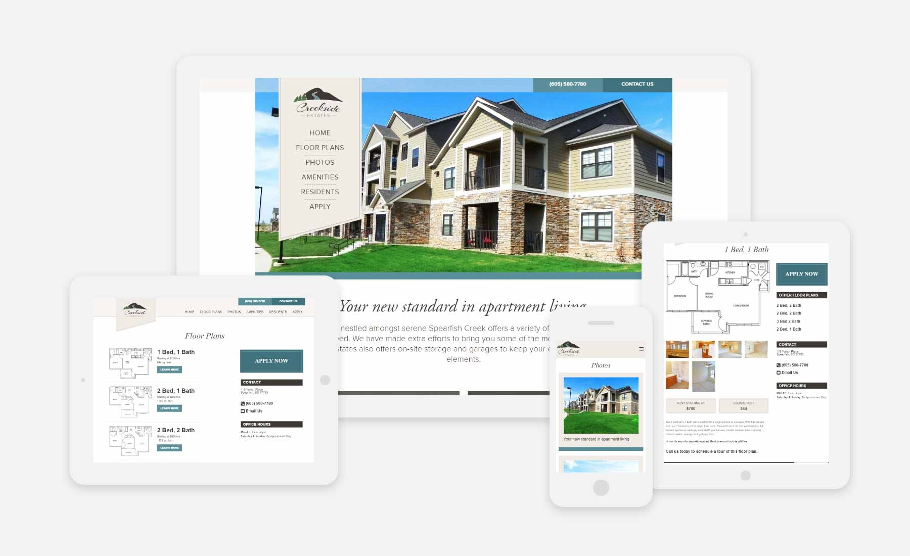 Creekside Estates responsive website shown on several devices