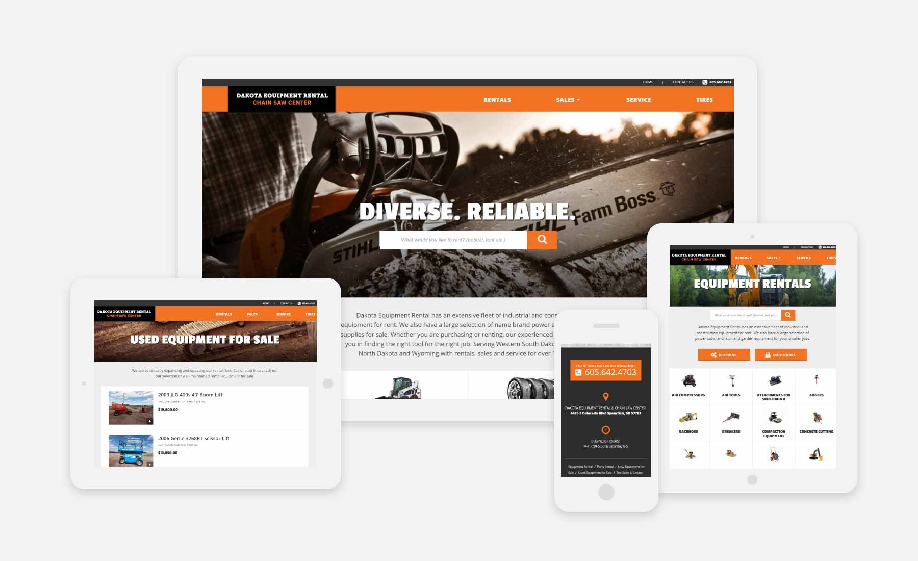Dakota Equipment Rental responsive website shown on several devices