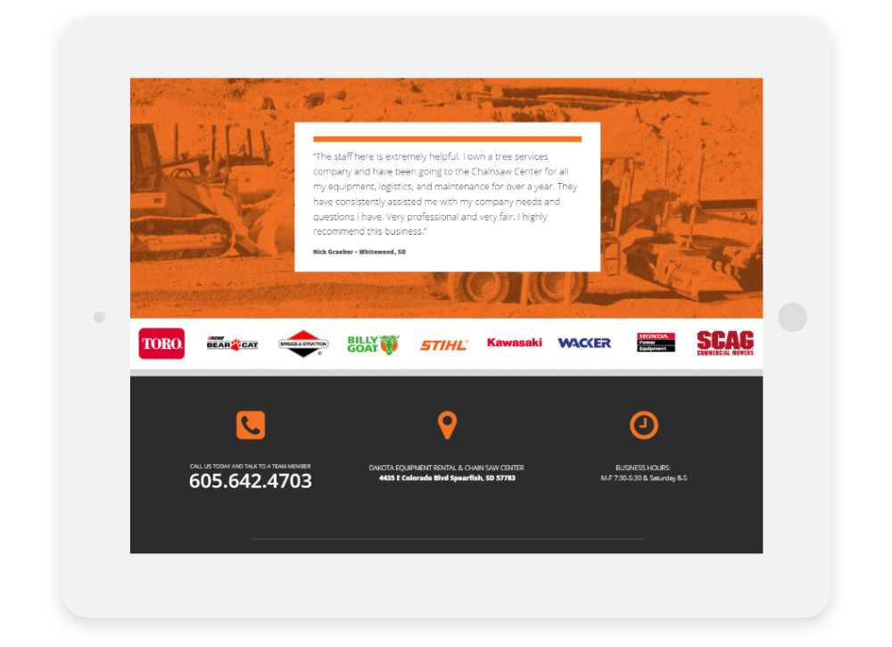 Dakota Equipment Rental responsive website Customer Testimonial shown on three phone screens
