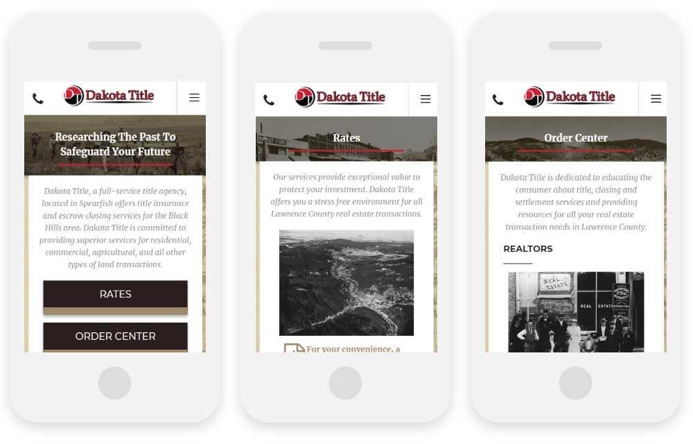 Dakota Title responsive website shown on three phone screens