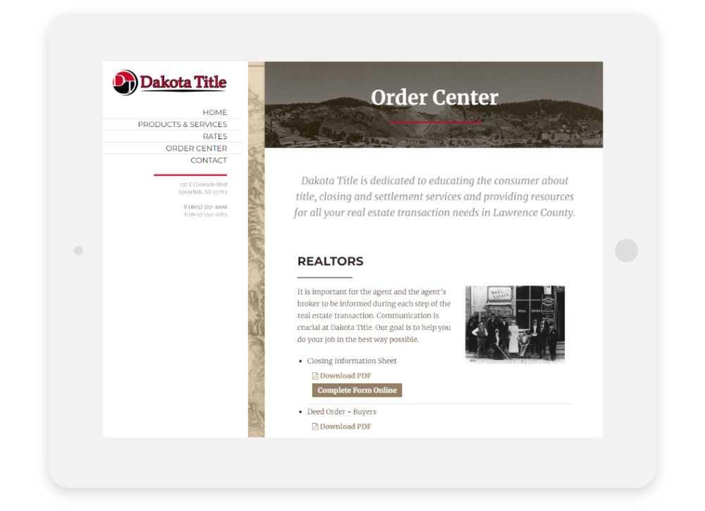 Dakota Title responsive website Order Center shown on tablet