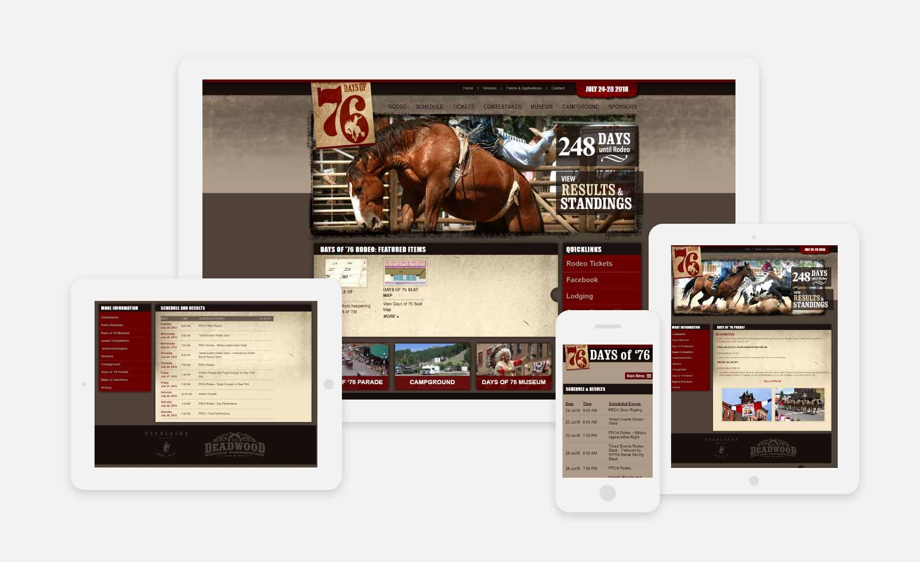 Days of '76 Rodeo responsive website shown on several devices