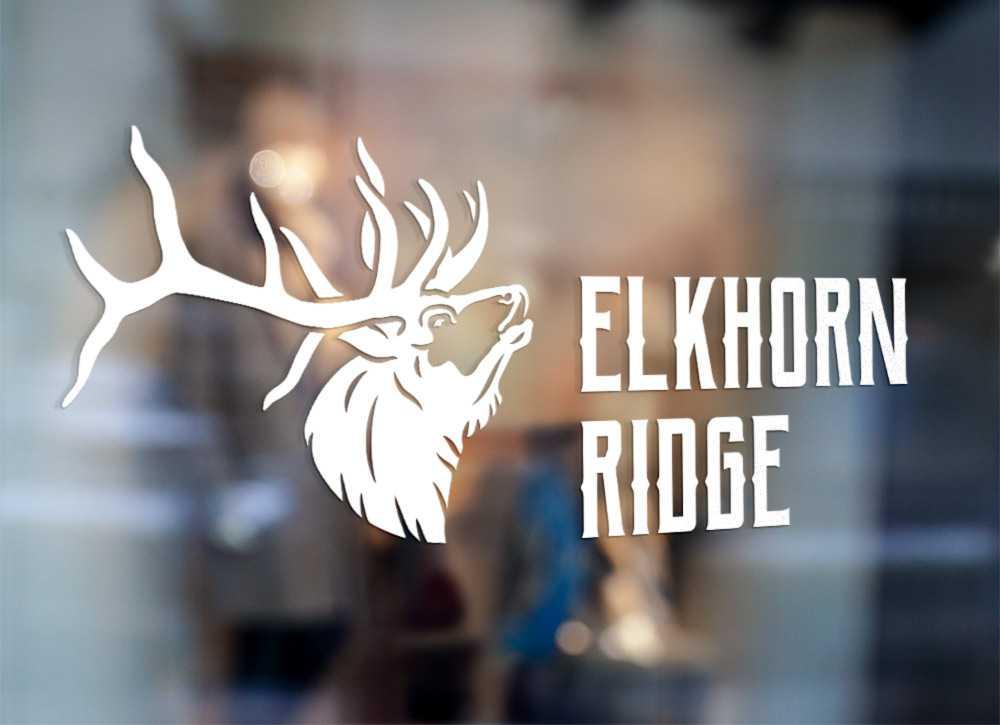 Elkhorn Ridge white logo on window
