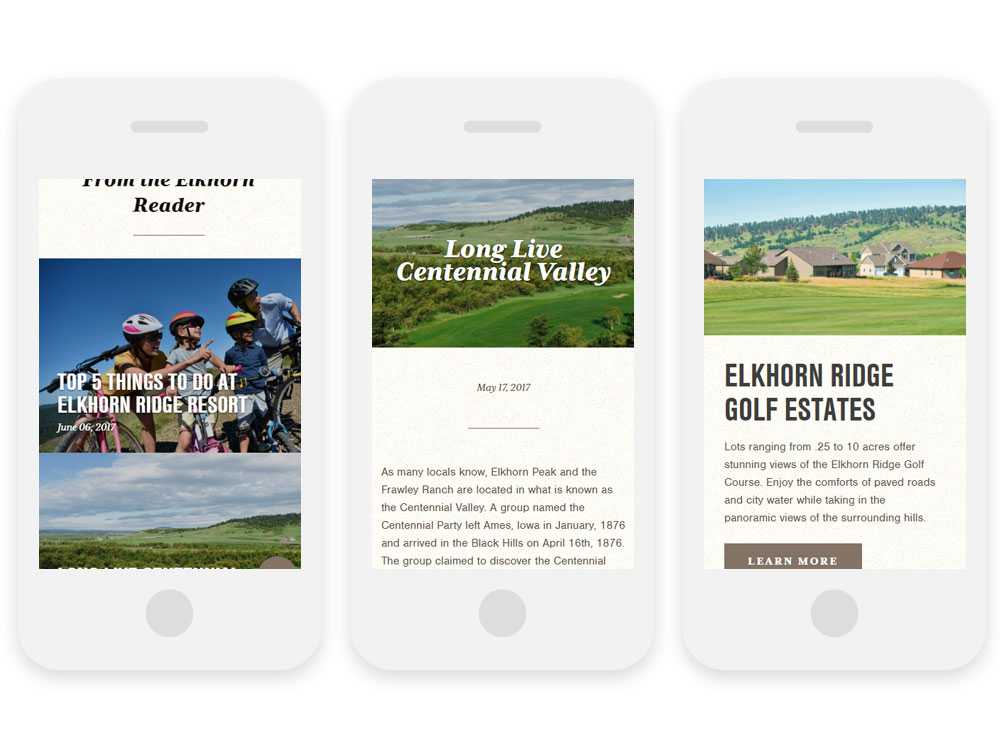 Elkhorn Ridge website on 3 mobile phones showing blog entries and general site entries