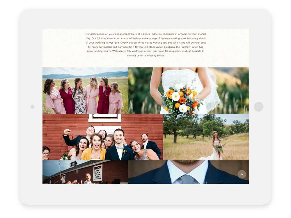 Elkhorn Ridge Weddings & Events detail page on ipad