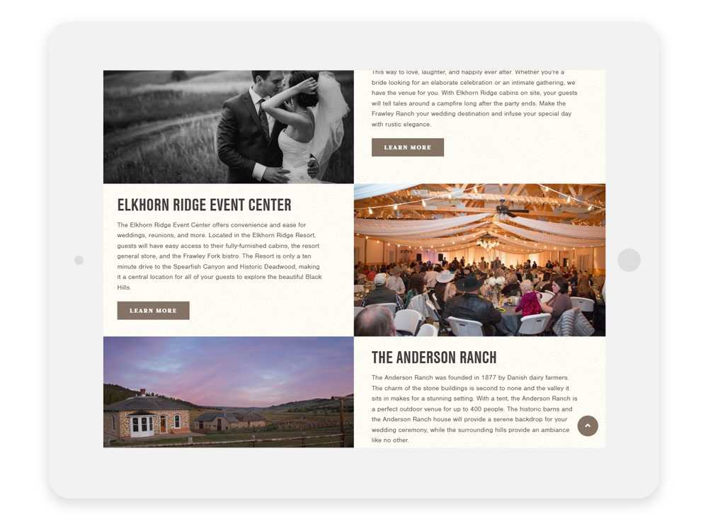 Elkhorn Ridge Weddings & Events page on ipad