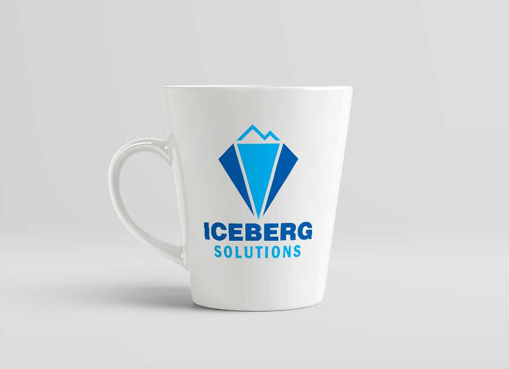 Iceberg Solutions logo shown on a mug