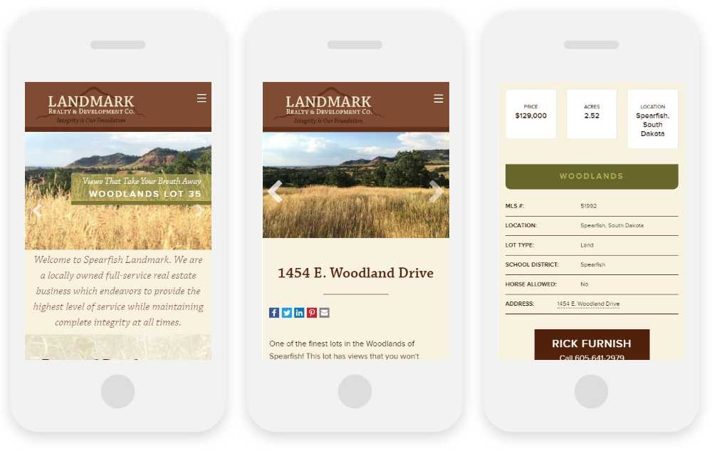 Landmark Realty responsive website shown on three phone screens