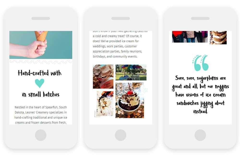 Leones' Creamery website on 3 mobile phones