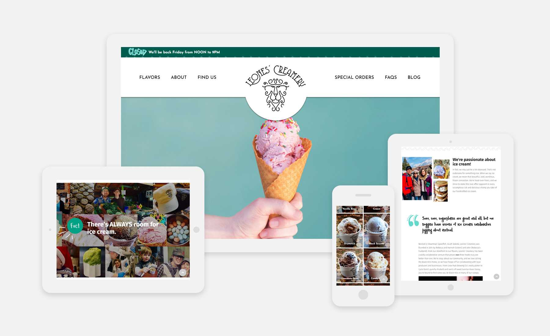 Leones' Creamery website on 4 devices: desktop, ipad vertical, ipad landscape, and mobile