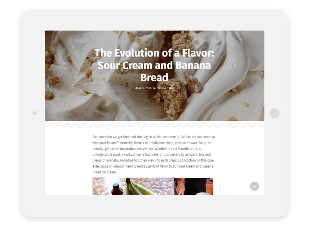 Leones' Creamery website on tablet showing a blog detail page