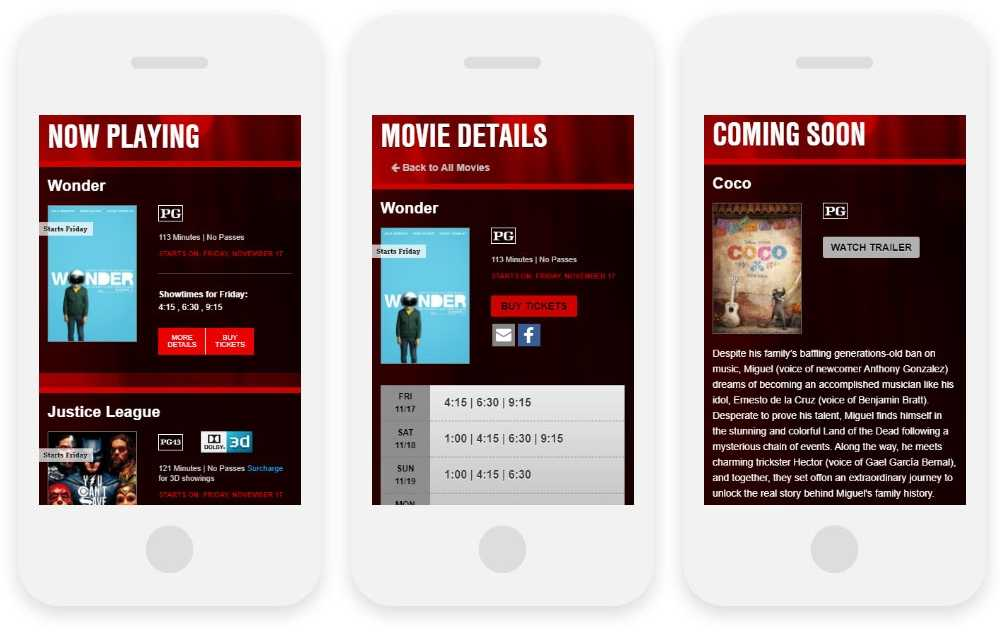 Steele Theatres Northern Hills Cinema responsive website on three phones