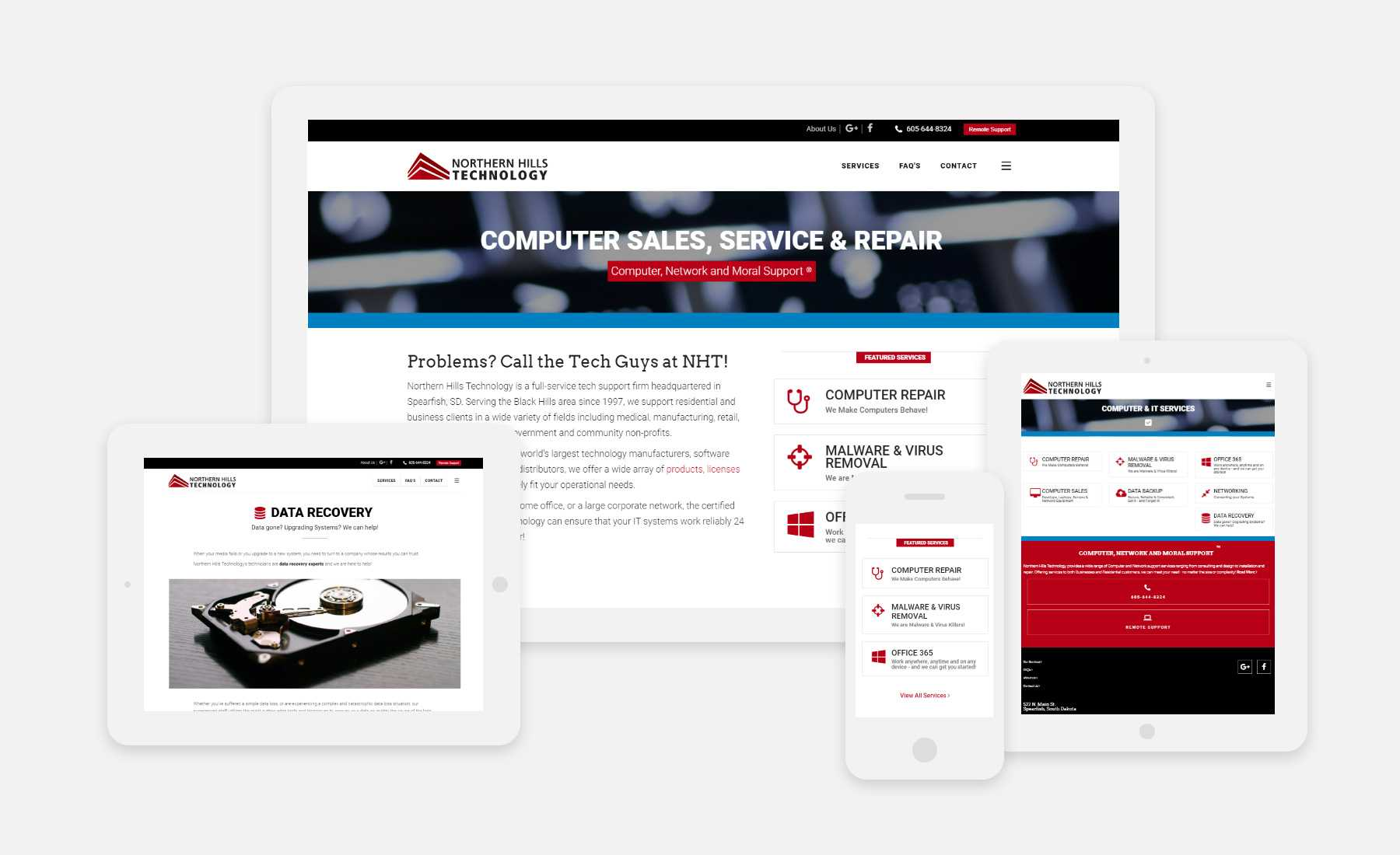 Northern Hills Technology responsive website shown on several devices