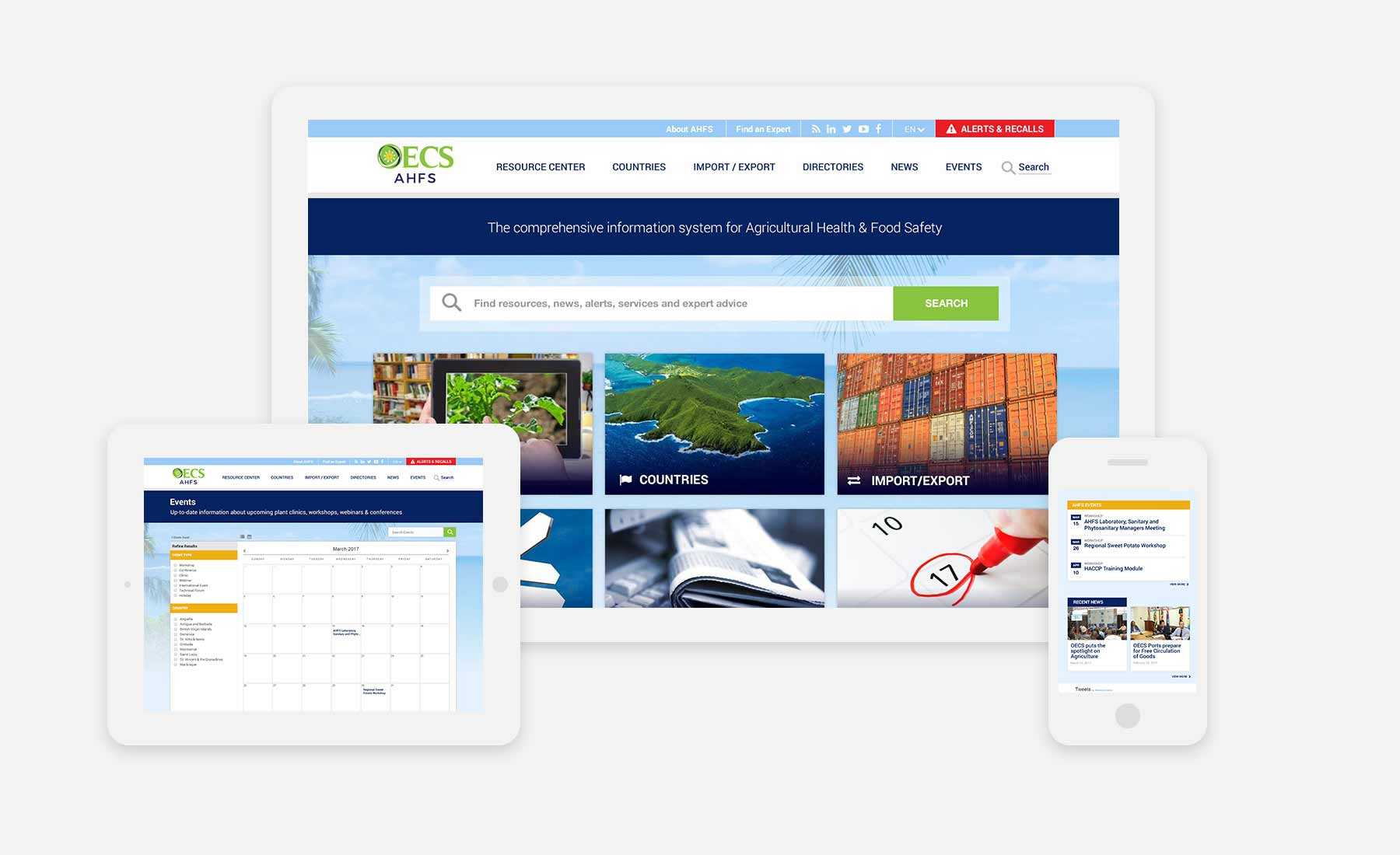 OECS responsive website shown on several devices