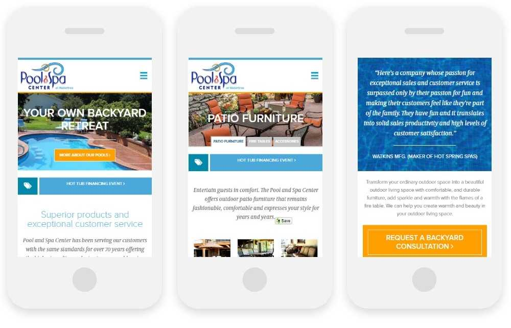 The Pool and Spa Center at WaterTree responsive website shown on three phone screens