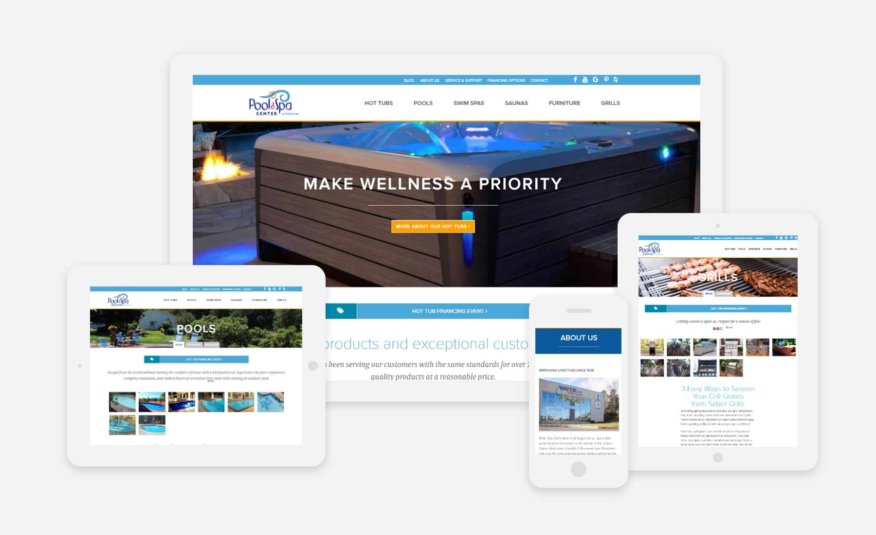 Pool and Spa Center at WaterTree responsive website shown on several devices