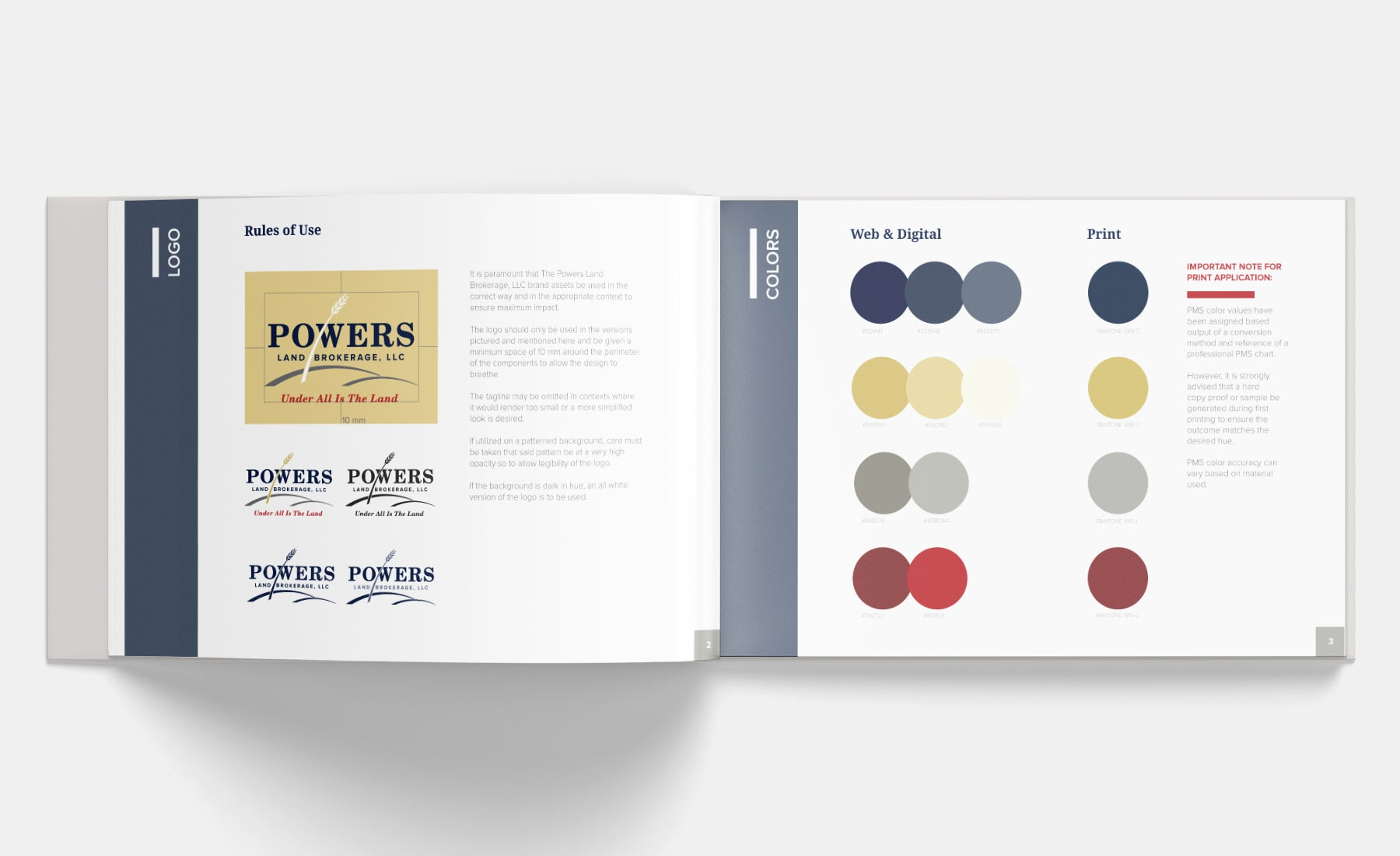 Powers Land Brokerage brand guidelines system
