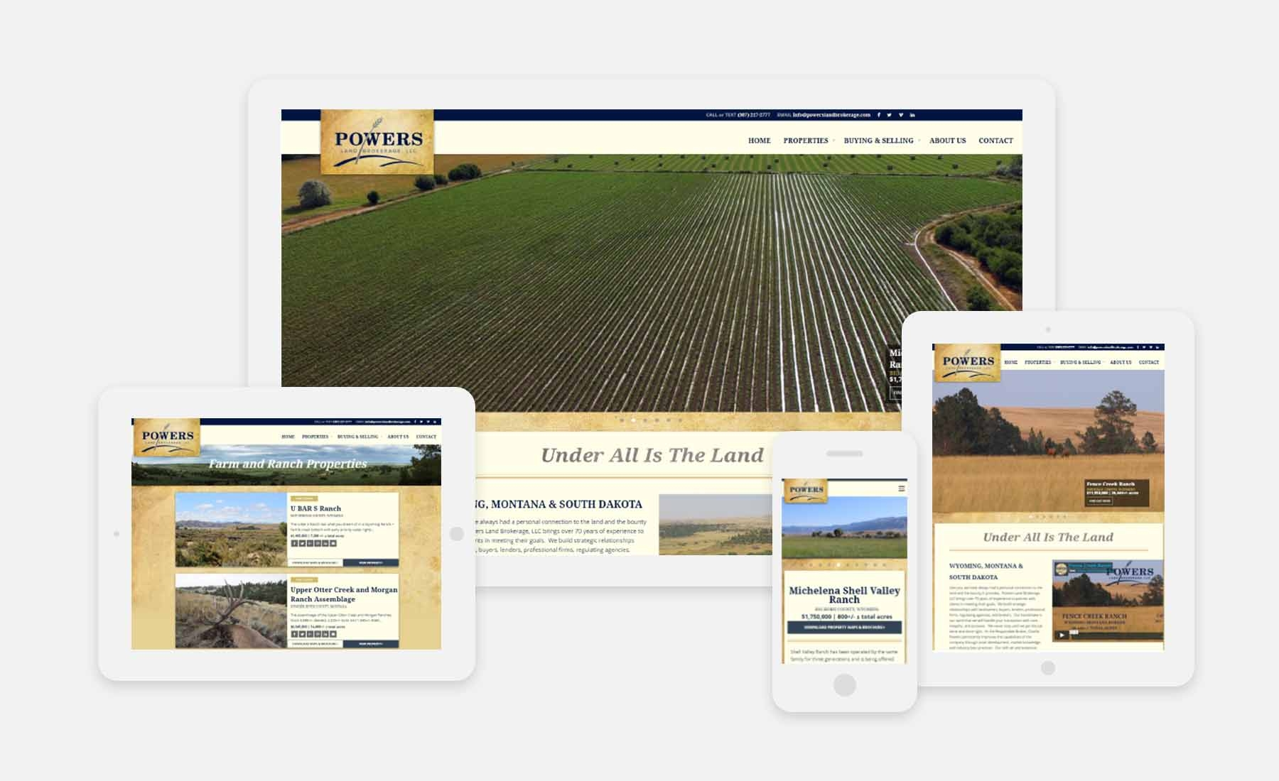 Powers Land Brokerage responsive website shown on several devices