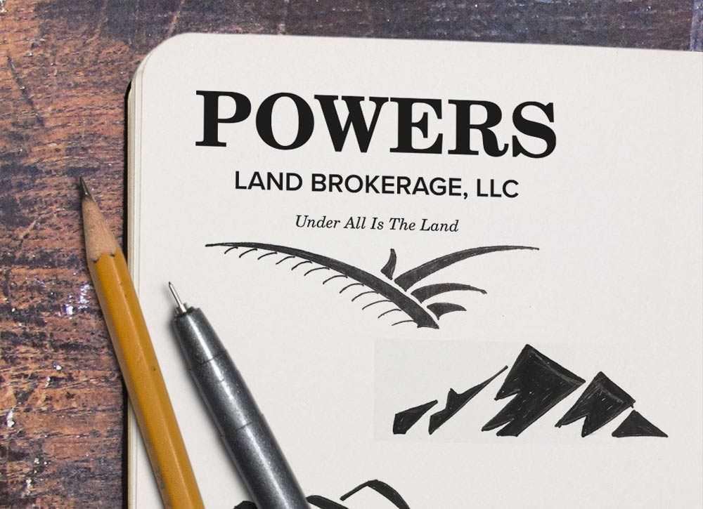 Powers Land Brokerage logo sketches