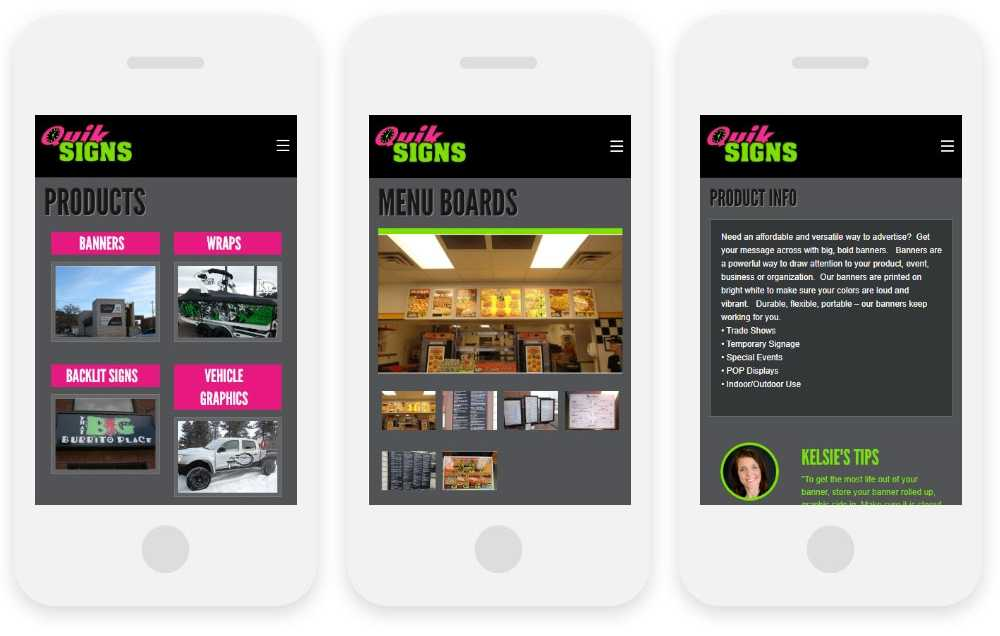 Quik Signs responsive website shown on three phone screens