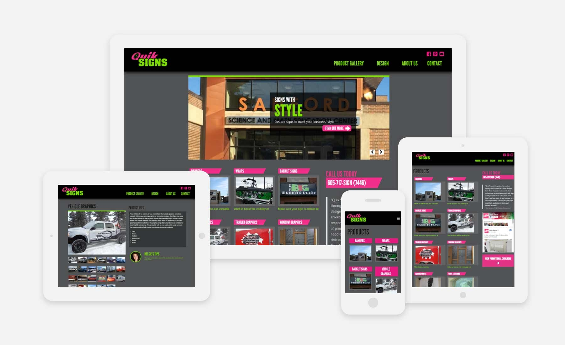 Quik Signs responsive website shown on several devices