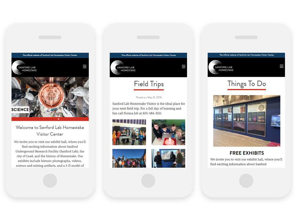 Sanford Lab Homestake Visitor Center website on three phones