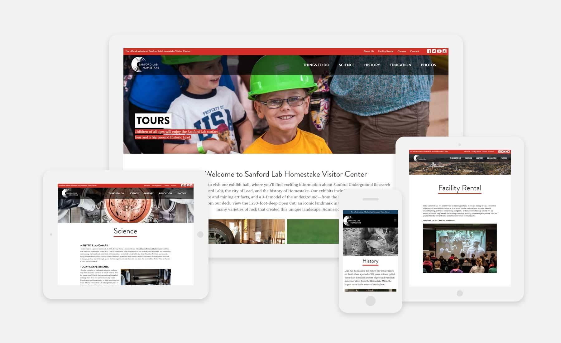 Sanford Lab Homestake Visitor Center website on a desktop, laptop, tablet and phone