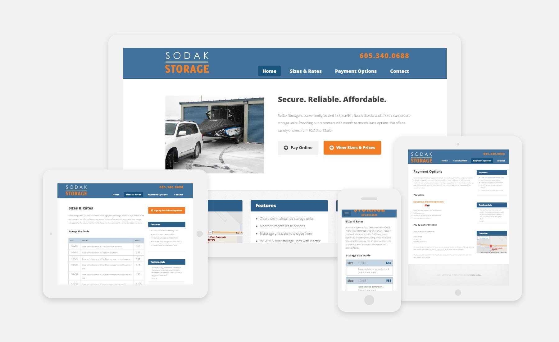 Sodak Storage responsive website shown on several devices