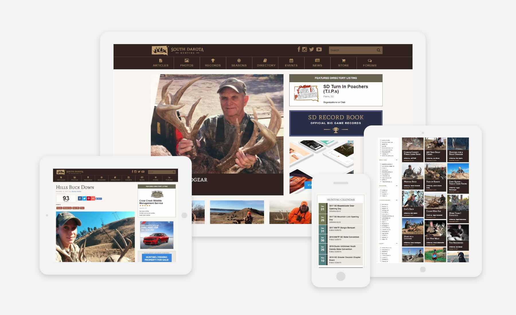 South Dakota Hunting responsive website shown on several devices