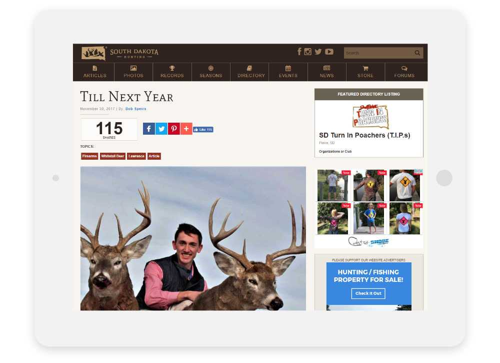 South Dakota Hunting responsive website Article Detail shown on a tablet
