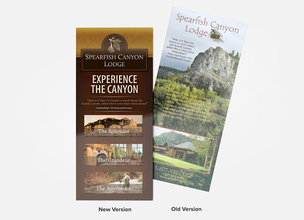 Spearfish Canyon Lodge old and new rack card comparison