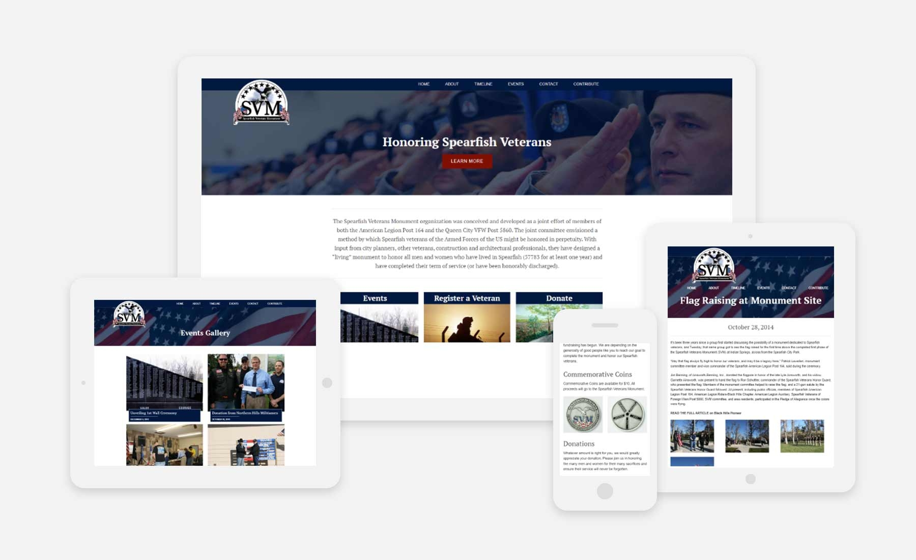 Spearfish Veterans Monument responsive website shown on several devices