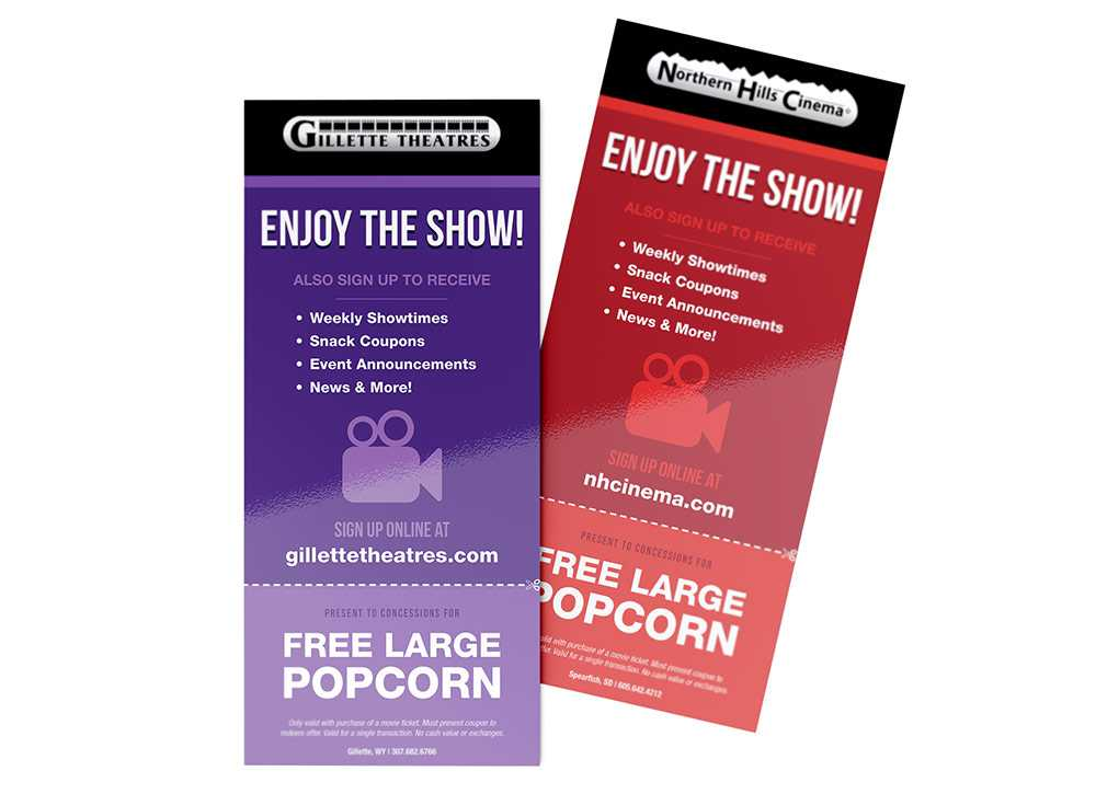 Steele Theatres popcorn giveaway rack cards