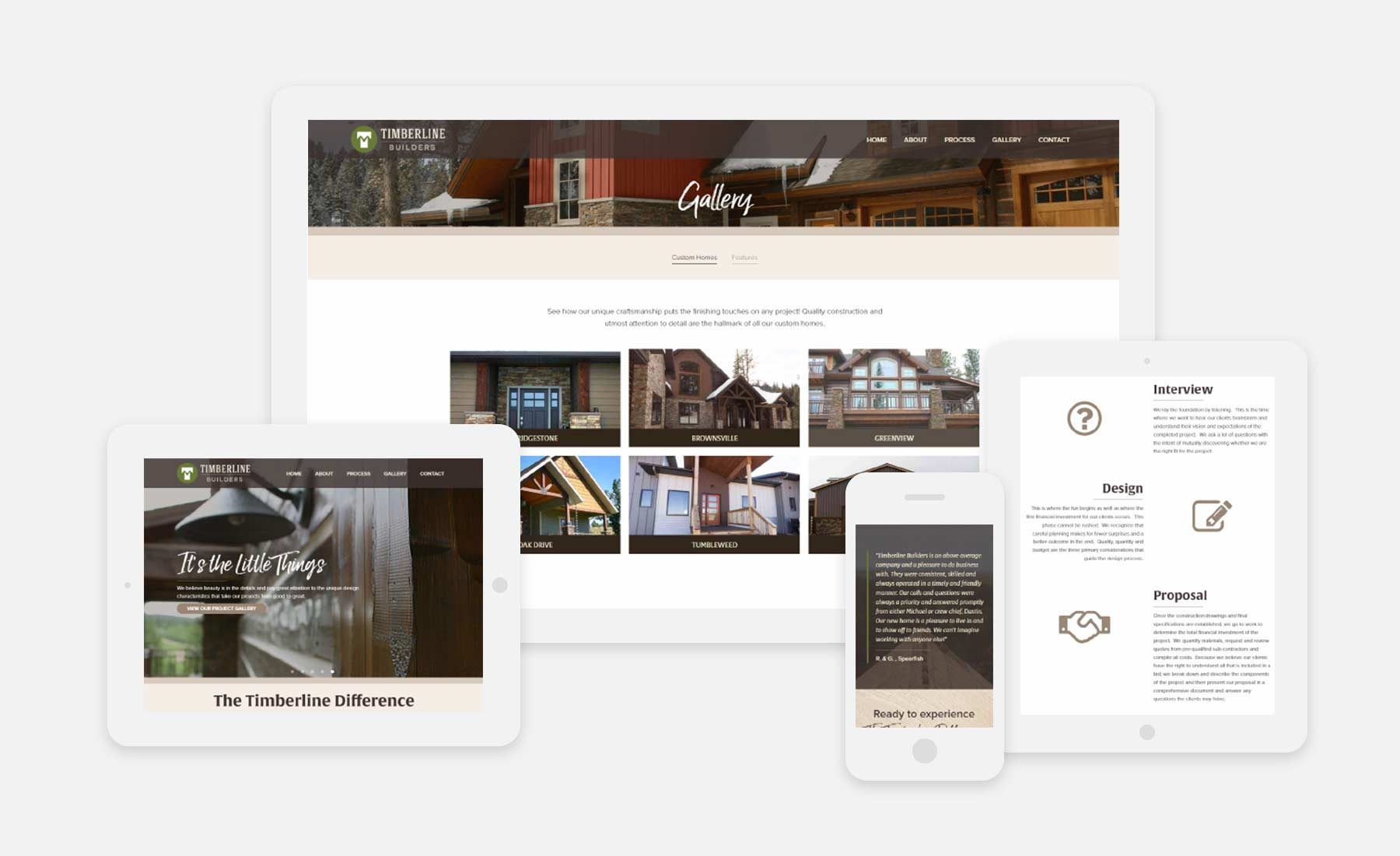 Timberline Builders responsive website shown on several devices