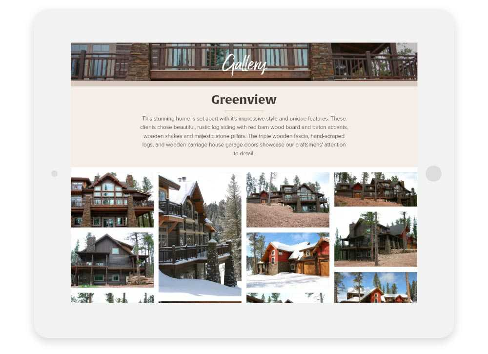 Timberline Builders responsive website shown on a tablet