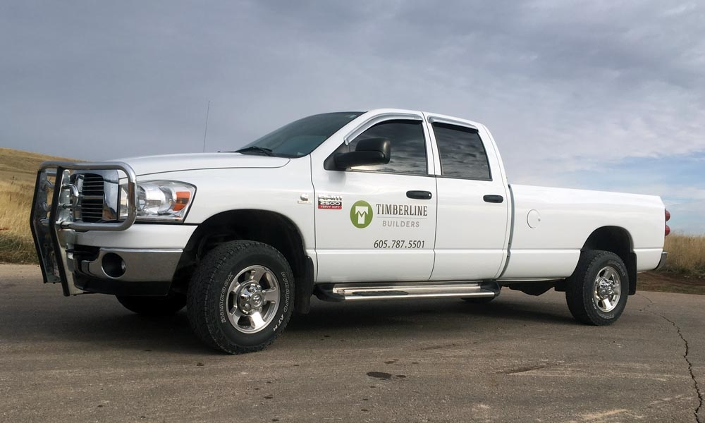 Timberline Builders logo shown on the company's truck