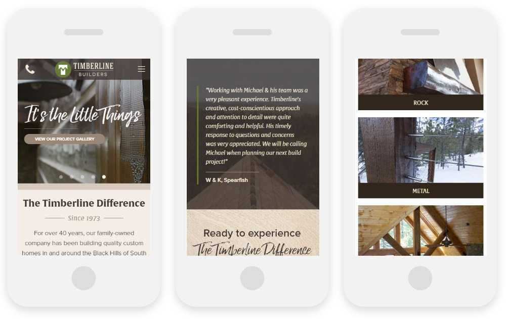 Timberline Builders responsive website shown on three phone screens