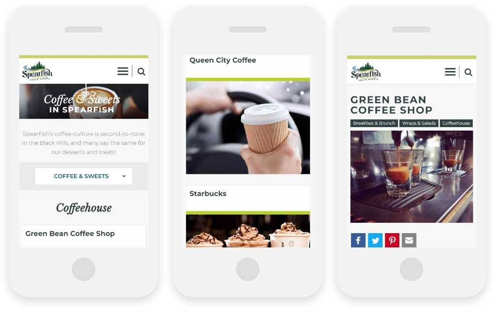 Visit Spearfish responsive website shown on three phone screens